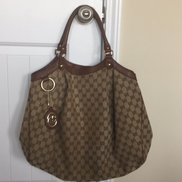 ea8f8187b4f0 Gucci Handbags - Gucci Sukey Large Brown/Beige Leather Canvas Tote
